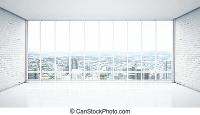 interior with window to city - white interior with wood...