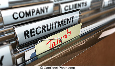 Talents recruitment Agency - Close up on a file tab with the...