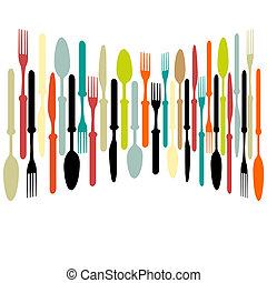 Cutlery dishe spoon, knife and fork - Template for menu...