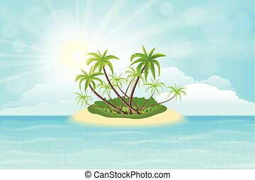 Tropical island - Paradise tropical island with palm trees...