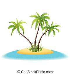 Tropical island with palm trees on white background