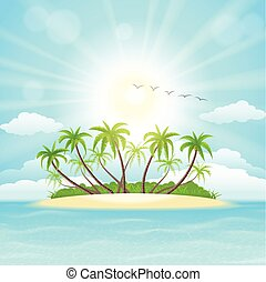 Tropical island - Summer tropical island with palms, sky,...