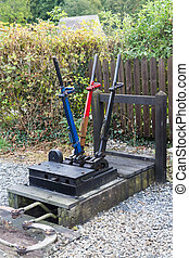 Railway Semaphore Signal Levers - Outside exterior three...