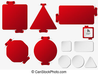 Set of illustration infographic templates with red color -...