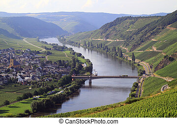 River Moselle Germany - Moselle river flows through three...