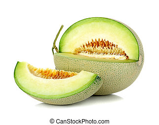 cantaloupe melon isolated on the white background.