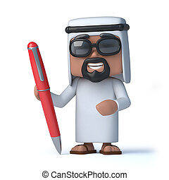 3d Arab with a red pen - 3d render of an Arab holding a red...