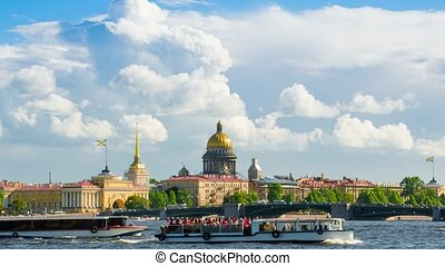 View Saint Isaac's Cathedral in Saint Petersburg from Neva river. Russia