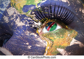 womans face with planet Earth texture and namibian flag...