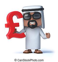 3d Arab holds UK Pounds Sterling currency symbol - 3d render...