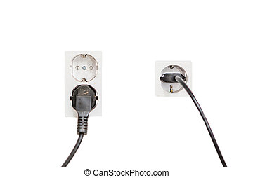 isolated european power socket with plug - isolated two...