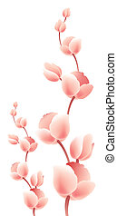 Magnolia - illustration drawing of pink magnolia in white...