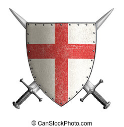 medieval crusader knight shield with cross red and two...