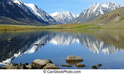 mountain landscape with lake in Altay, zoom in