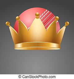 Cricket ball with royal crown King of sport Isolated...