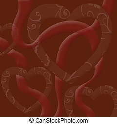 brown background  for   valentines   with   heart