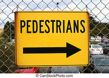 pedestrians road sign closeup