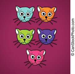 multi-colored cats - Illustration of multi-colored cats on...