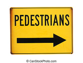 pedestrians road sign closeup on white