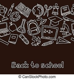 School seamless pattern with hand drawn icons on chalk board