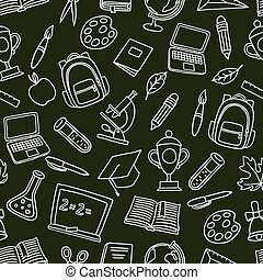 School seamless pattern with hand drawn icons on chalk board...