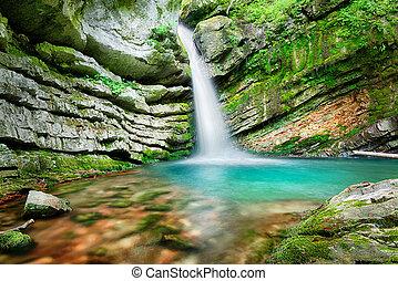Magic waterfall in Slovenia