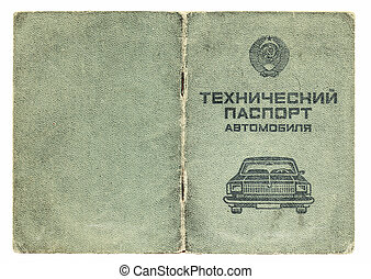 old soviet technical passport for cars isolated on white...