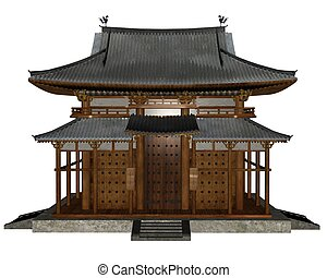 Buddhist temple - 3D rendered buddhist temple on white...