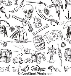 Pirates pattern. Hand drawn