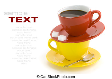 Red and yellow cups, coffee, sugar, spoon on a white...