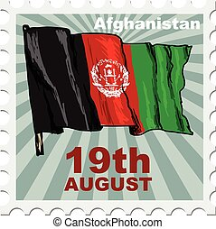 national day of Afghanistan - post stamp of national day of...