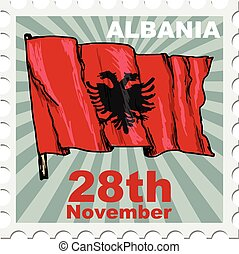 national day of Albania - post stamp of national day of...