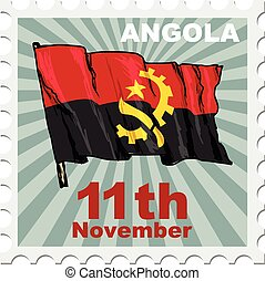 national day of Angola - post stamp of national day of...