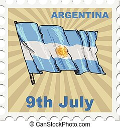 national day of Argentina - post stamp of national day of...