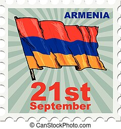 national day of Armenia - post stamp of national day of...