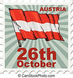 national day of Austria - post stamp of national day of...