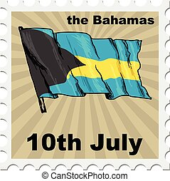 national day of Bahamas - post stamp of national day of...