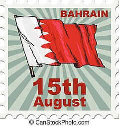 national day of Bahrain - post stamp of national day of...