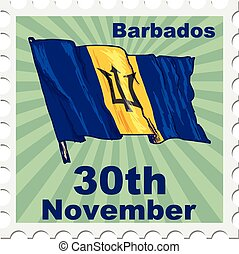 national day of Barbados - post stamp of national day of...