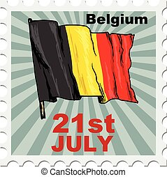 national day of Belgium - post stamp of national day of...