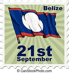 national day of Belize - post stamp of national day of...