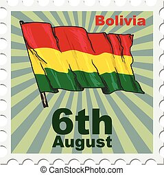 national day of Bolivia - post stamp of national day of...