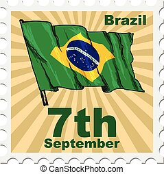 national day of Brazil - post stamp of national day of...