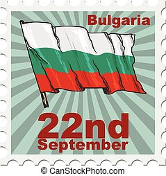national day of Bulgaria - post stamp of national day of...