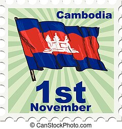 national day of Cambodia - post stamp of national day of...