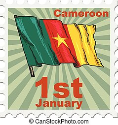 national day of Cameroon - post stamp of national day of...