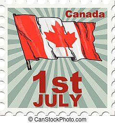 national day of Canada - post stamp of national day of...