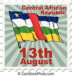 Central African Republic - post stamp of national day of...