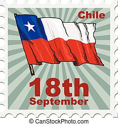 national day of Chile - post stamp of national day of Chile