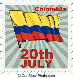 national day of Colombia - post stamp of national day of...